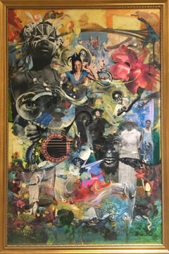 Beyond the Blues - contemporary abstract collage w/ figures, flowers & landscape