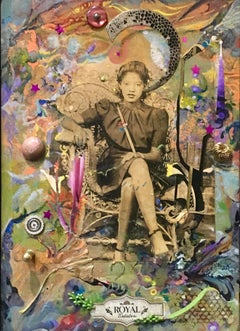 The Royal One - contemporary abstract collage painting with found objects, woman