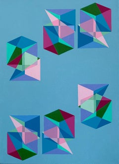 Untitled -- contemporary abstract painting with geometric blue & pink shapes