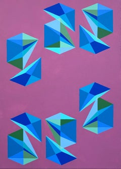 Contemporary geometric abstract painting w/ blue, pink & green cubes & pyramids