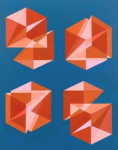 Untitled -- contemporary abstract painting with pink & blue geometric shapes
