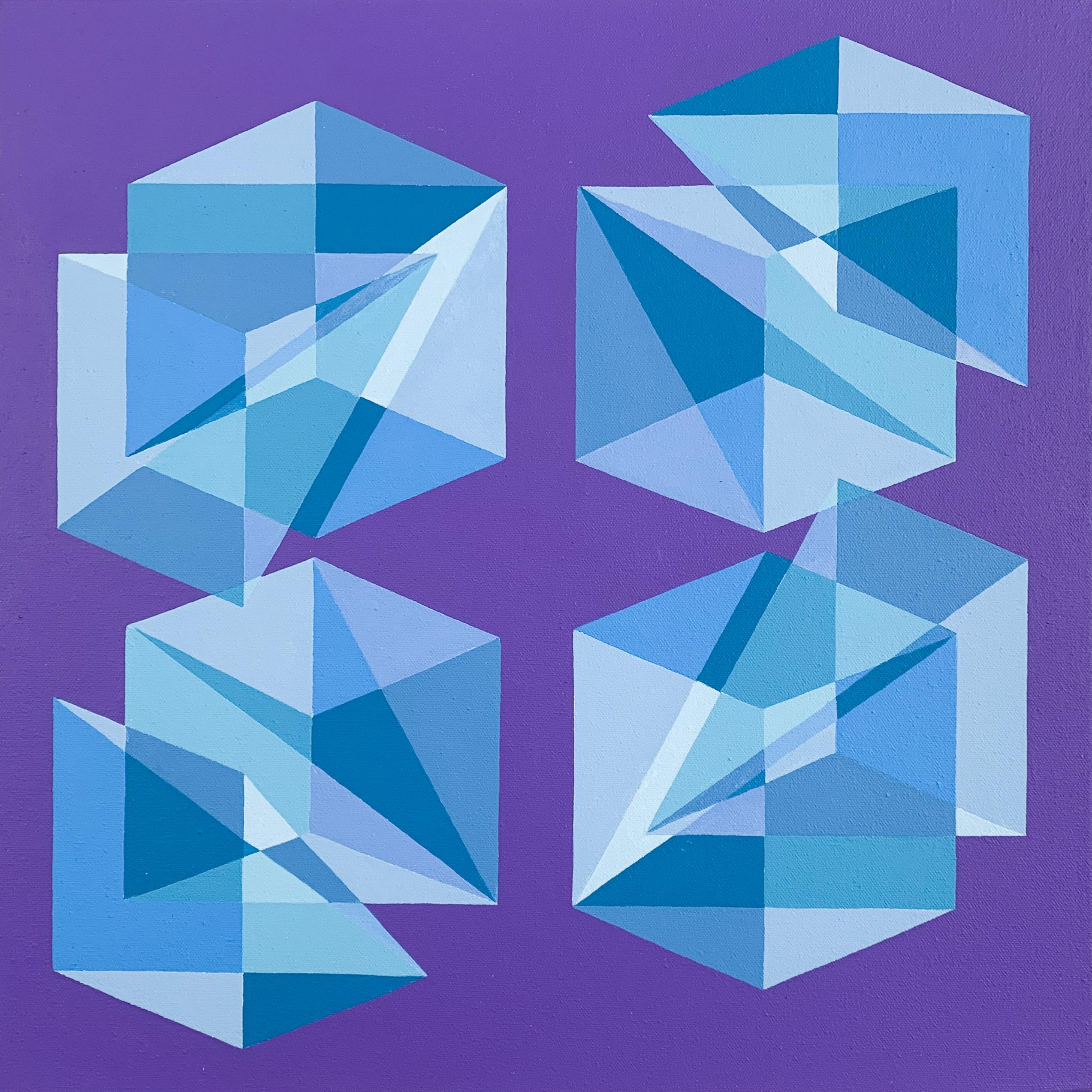 Contemporary geometric abstract Op Art painting w/ blue & purple cubes, pyramids