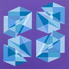Untitled -- contemporary abstract painting with blue & purple geometric shapes