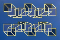 Geometric abstract Op Art painting w/ blue & yellow-gold cubes & squares