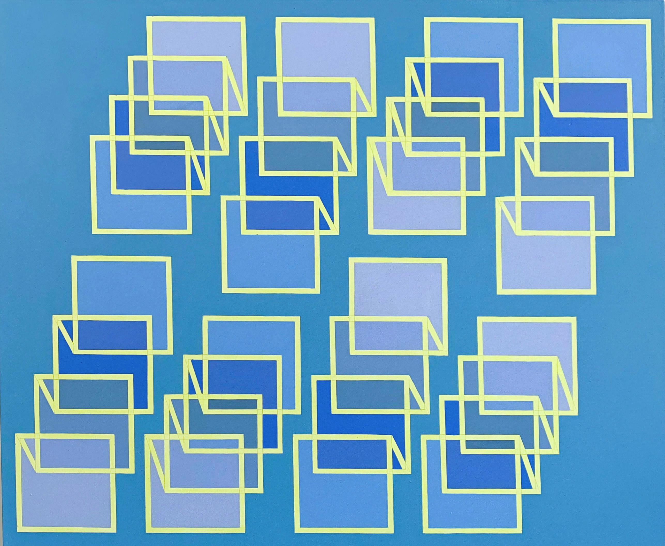 Geometric abstract Op Art painting w/ blue, yellow & purple cubes & squares