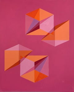 Untitled -- contemporary abstract painting with pink & orange geometric shapes