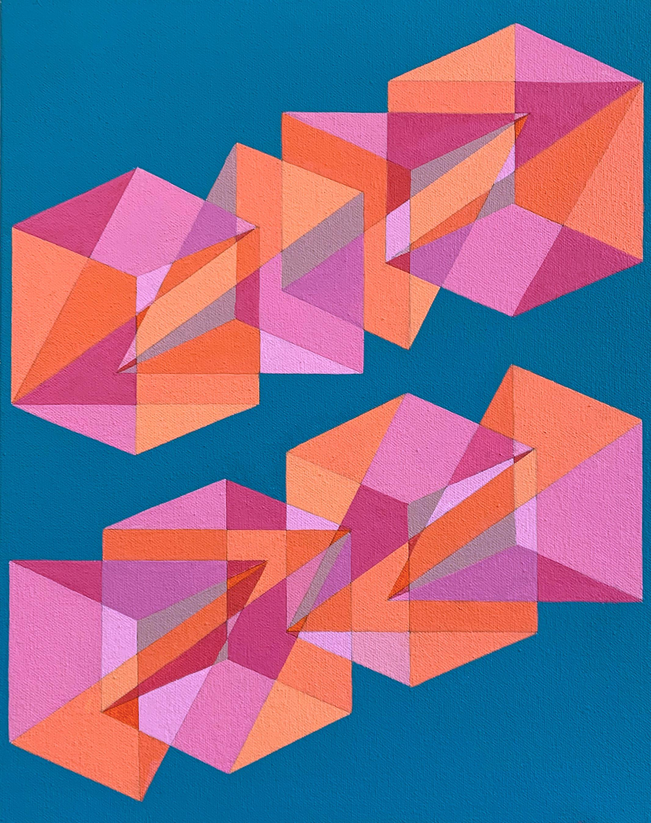 Contemporary abstract geometric painting w/ orange, pink & blue cubes & pyramids