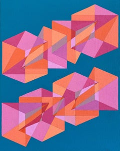 Untitled -- contemporary abstract painting with blue & pink geometric shapes
