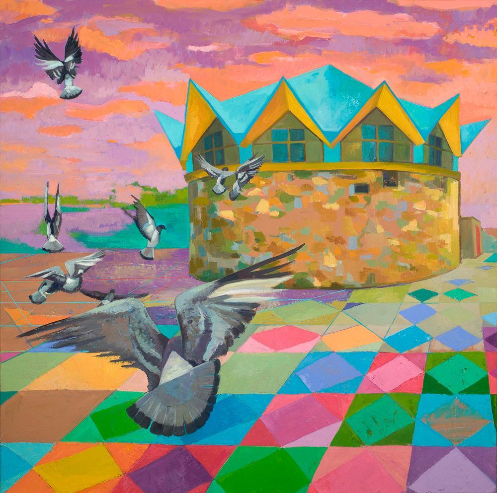 Pigeon Flight: abstract landscape painting w/ birds, architecture & orange sky