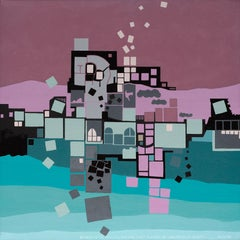 Atlantic City Revisited -- modern geometric abstract painting with blue squares