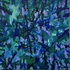 Wimbledon -- contemporary abstract painting w/ blue, green, violet & black lines