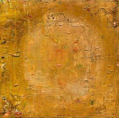 Treasure: contemporary abstract oil painting in gold, heavy impasto & texture