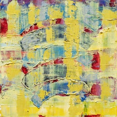 Through the Looking Glass -- contemporary abstract oil painting in yellow & blue