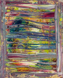 Wall of Sound -- contemporary abstract oil painting in blue,  green, and red