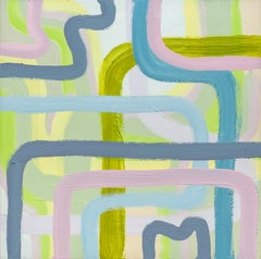 SHHH -- contemporary abstract oil painting with blue, green, and violet lines