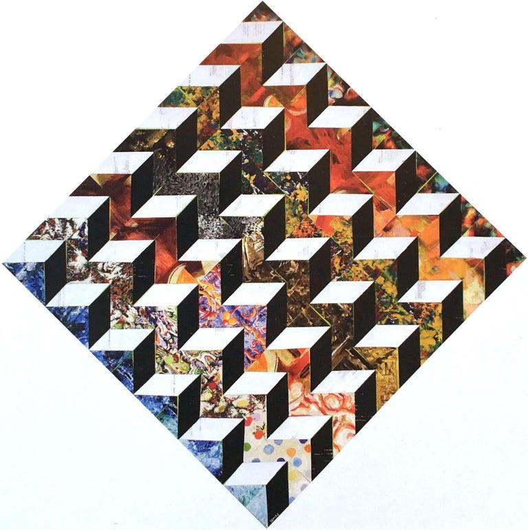 Optic Diamond IV - contemporary abstract mixed media painting w/ geometric cubes - Mixed Media Art by Joseph McAleer