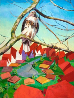 Sentinel II - contemporary oil painting w/ bird, sky, & landscape; red, blue