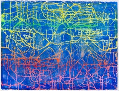 Night Rodeo - contemporary abstract painting w/ yellow, green, red lines on blue