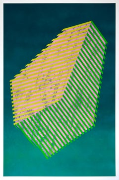 Paper Prismatic Polygon III -- contemporary geometric abstract painting in green
