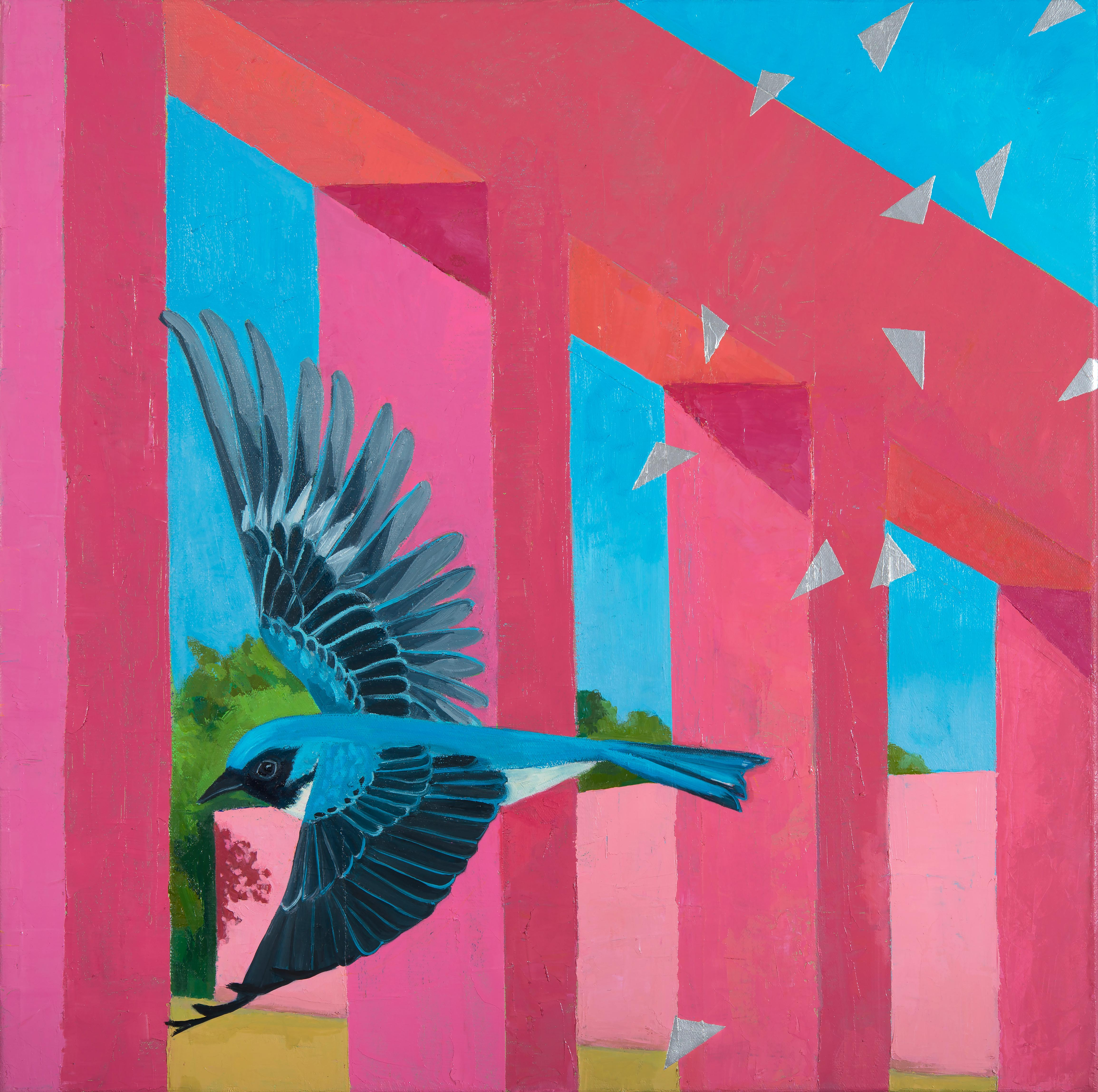 The Crossing: contemporary abstract painting w/ bird, pink architecture blue sky