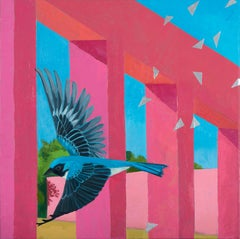 The Crossing - contemporary abstract painting w/ bird, pink & blue architecture