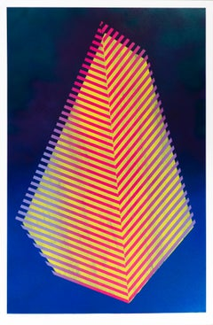 Paper Prismatic Polygon V: contemporary geometric abstract painting, yellow blue