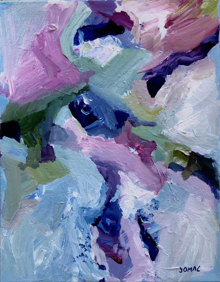 Joseph McAleer Abstract Painting - Sommelier - contemporary abstract expressionism painting on canvas in blue, pink