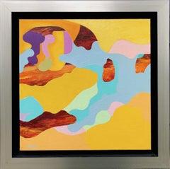 Breakthrough Flow -- surrealist abstract landscape painting in blue & orange