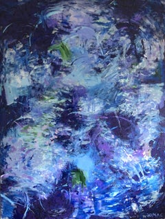 Kind of Blue - contemporary abstract expressionism painting on canvas in blue