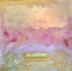 The Gift - contemporary abstract color field painting on canvas in pink & gold