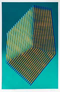 Paper Prismatic Polygon X: contemporary geometric abstract painting, blue-green