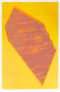 Paper Prismatic Polygon XI: contemporary geometric abstract painting on yellow