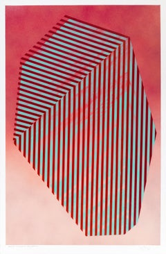 Paper Prismatic Polygon XIII: contemporary geometric abstract painting on red