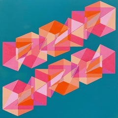Contemporary geometric abstract painting w/ pink, blue & orange cubes, pyramids