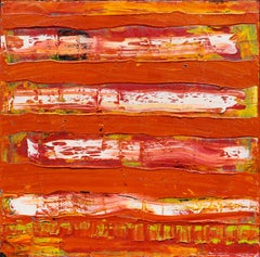 Tension: abstract expressionism oil painting w/ texture, red & white stripes