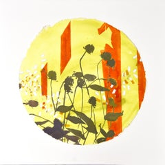 Pollinator: contemporary abstract round painting with flowers, framed square