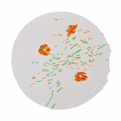 Cosmos Migration: contemporary abstract round painting w/ flowers, framed square