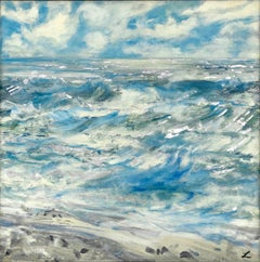 New Jersey #10 - contemporary Impressionist landscape, blue & silver sea / ocean