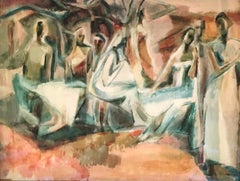 Mexican Mural: mid-century modern framed watercolor, figures in a landscape