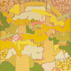 Sky Pilot: contemporary abstract painting on canvas; green, yellow, pink & gold