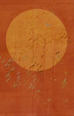 Autumn Equinox I: abstract monotype print & painting on paper in orange & red