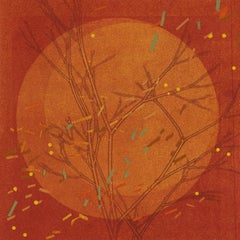 Autumn Equinox III: abstract monotype print & painting on paper in orange & red