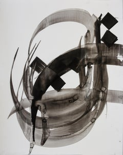 Etude 11 - abstract calligraphy ink drawing / painting on paper in black & white