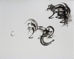 Etude 6 - abstract calligraphy ink drawing / painting on paper, in black & white
