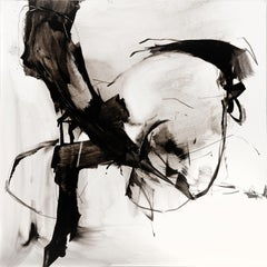 Melody - abstract calligraphy ink drawing / painting on clayboard, black & white