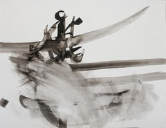 Etude 3 - abstract calligraphy ink drawing / painting on paper, black & white