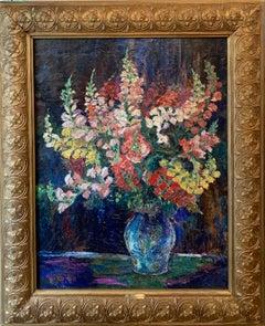 Large Impressionist Floral Still Life - Colourful Flowers  Vase école de Paris