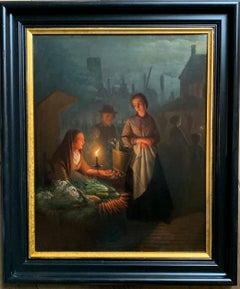 Night market by Candle-light 19th century figurative genre painting