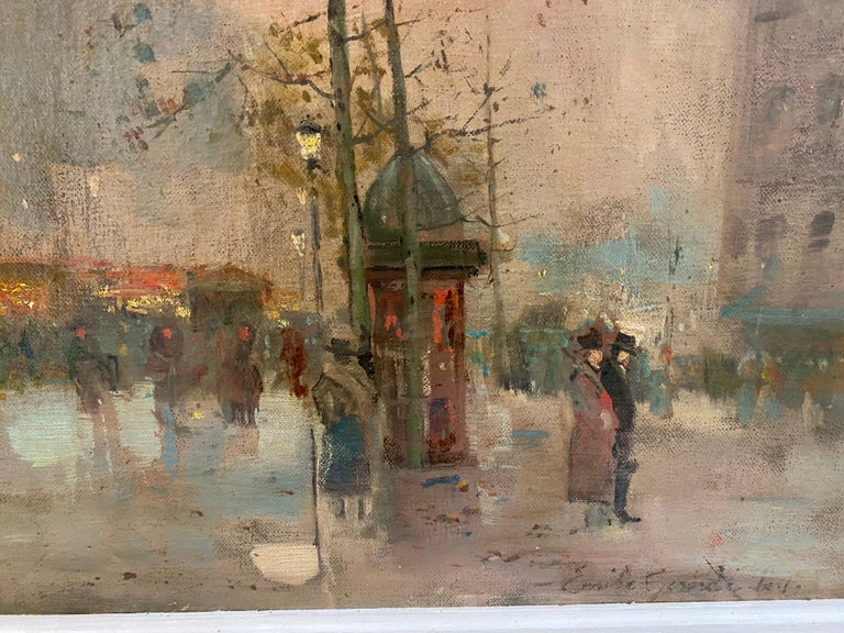 19th century French impressionistic Parisian cityscape - Brown Figurative Painting by Emile Gérard