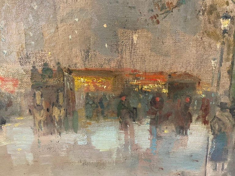 Magnificent and large 19th century French impressionist painting depicting the hustle and bustle of a busy Parisian square during the late 19th century. It strongly resembles the works of Edouard Leon Cortes and Eugène Galien-Laloue. Dated